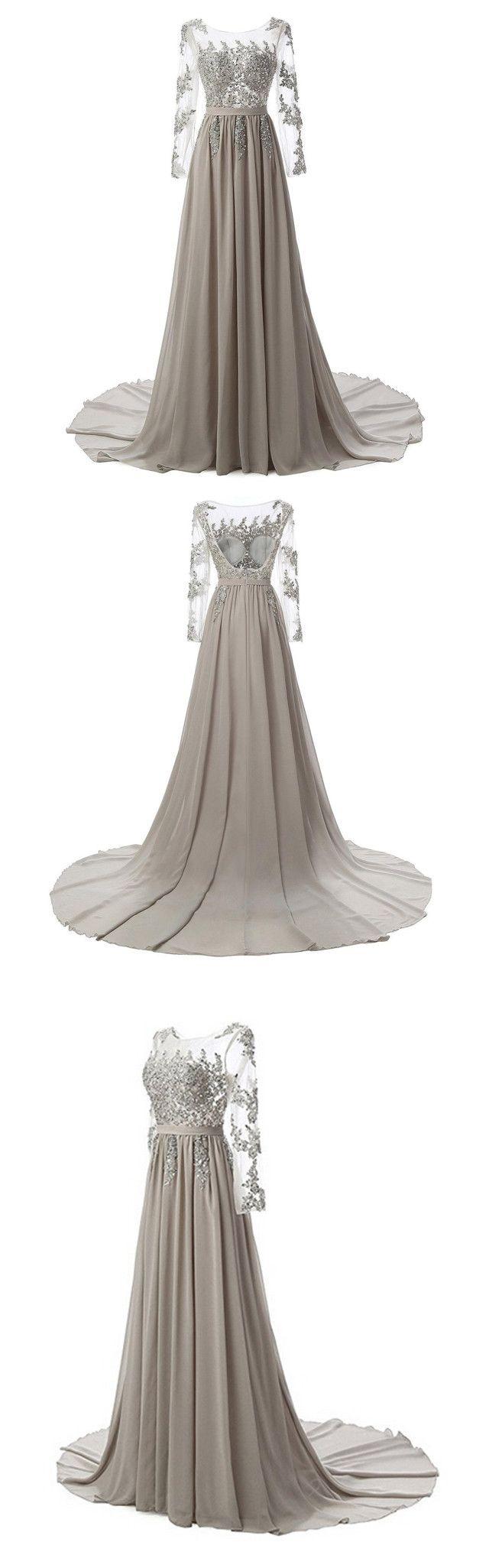 Womenus new long evening dresses chiffon lace fashion gown
