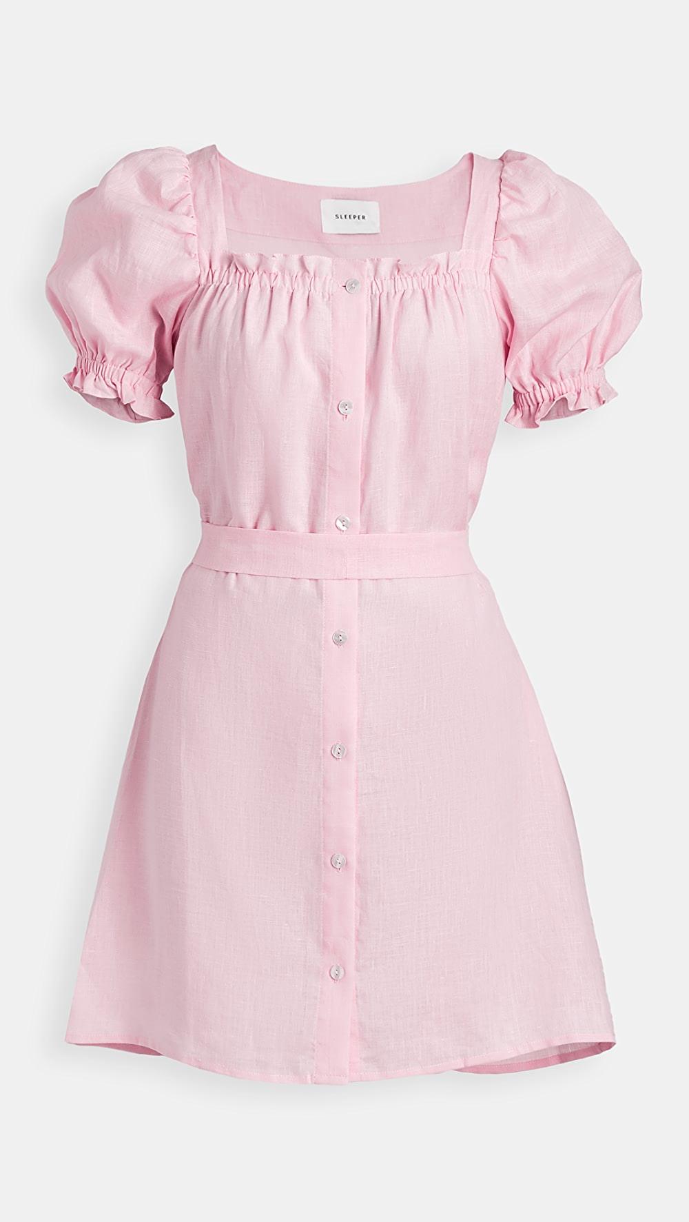 Sleeper Brigitte Linen Mini Dress