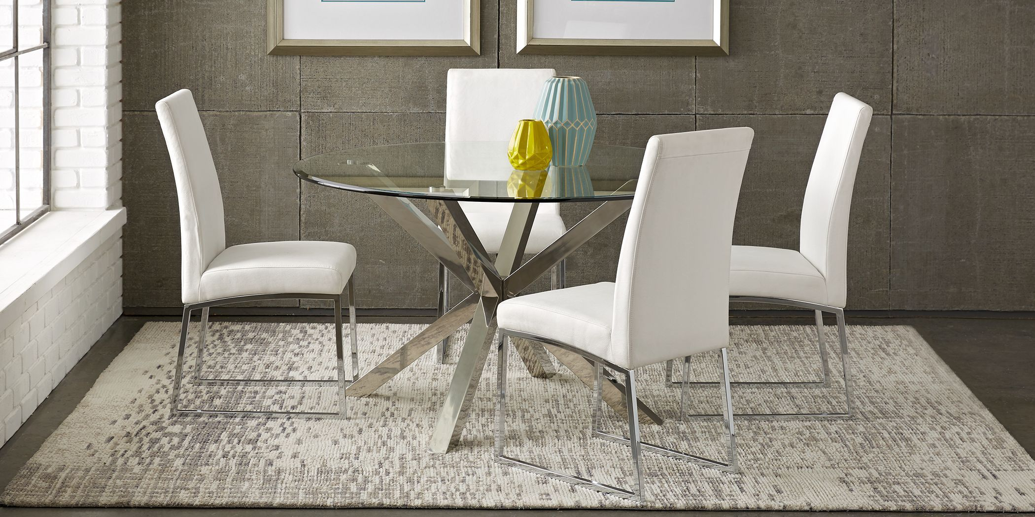 Jules Gray 5 Pc Dining Set With Off White Chairs In 2021 Metal Dining Room Dining Room Furniture Sets Dining Room Sets