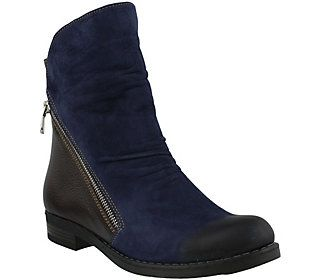 Azura by Spring Step Leather Two-tone Ankle Boot - Dhuna