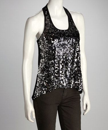 Take a look at this Black & Sliver Sequin Racerback Tank by Clothing Showroom on #zulily today!