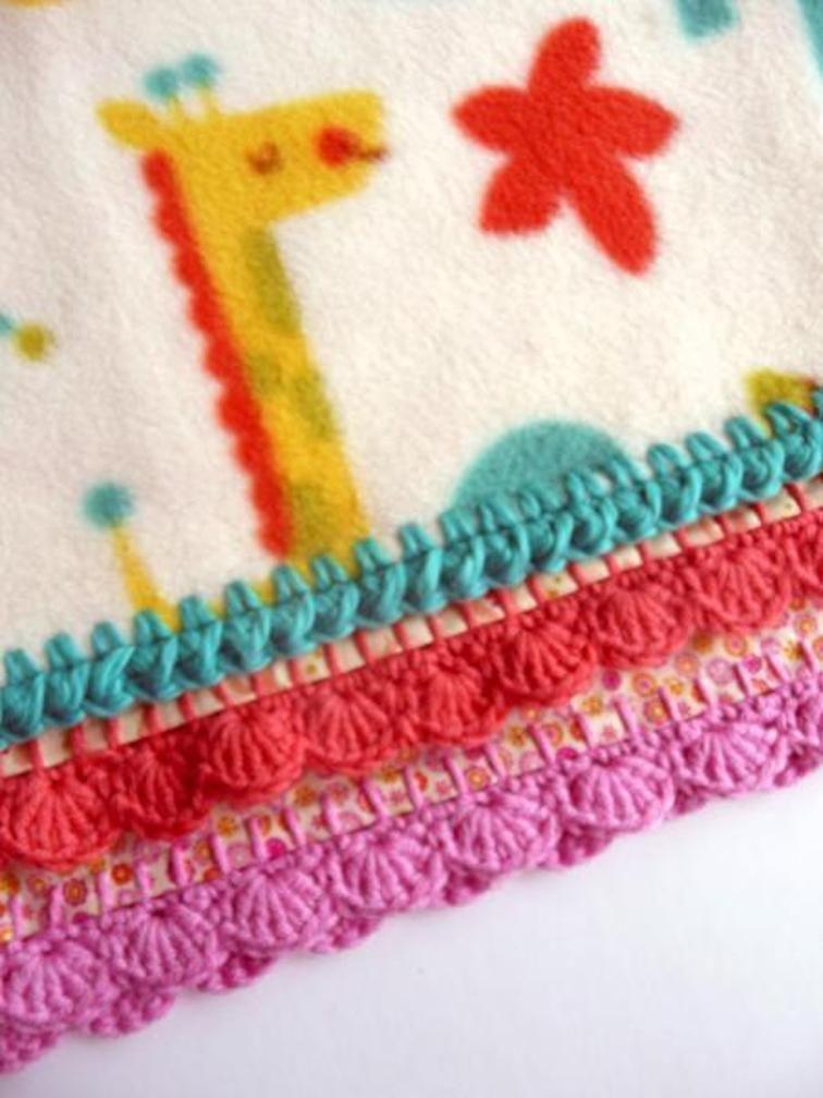 Crochet Edged Fleece Blanket   Craftsy   crochet stitch fabric ...