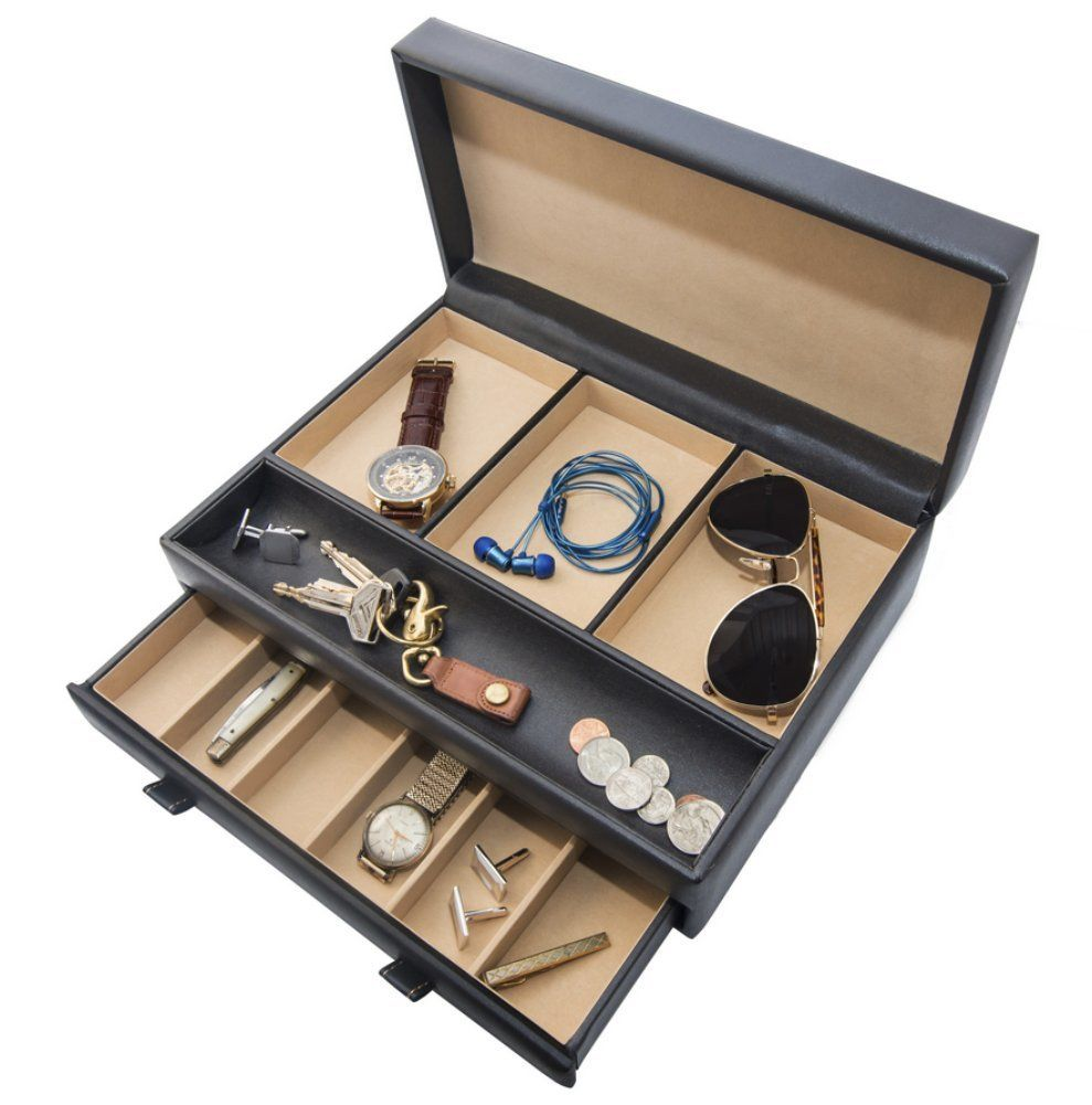 Stock Your Home Men Jewelry Organizer Also Functions As A Men Jewelry Box & Men Jewelry Case -Chocolate