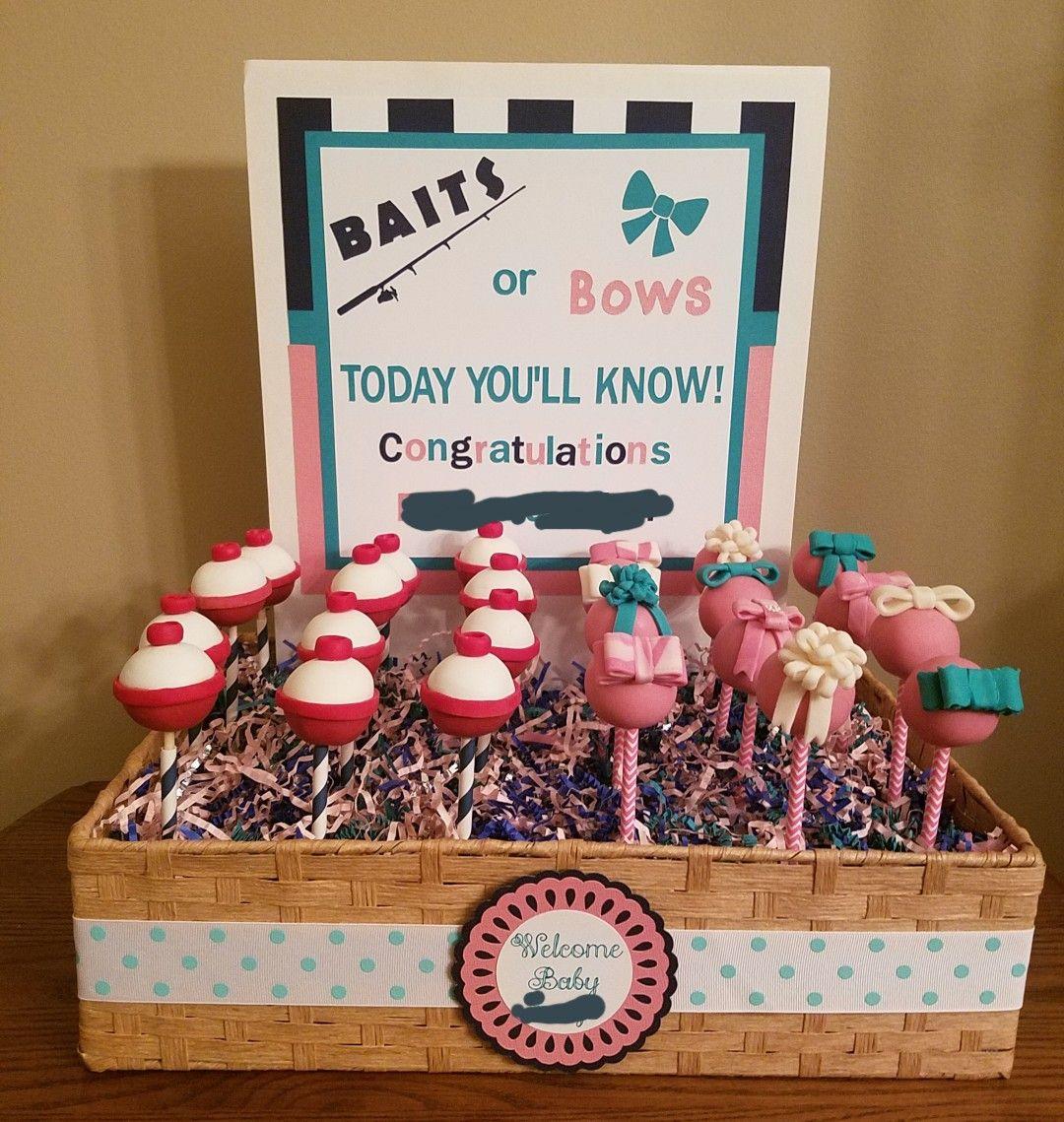 Baits bobbers or bows baby shower cake pops gender