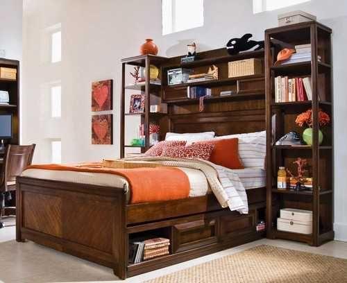 bed with storage under and around