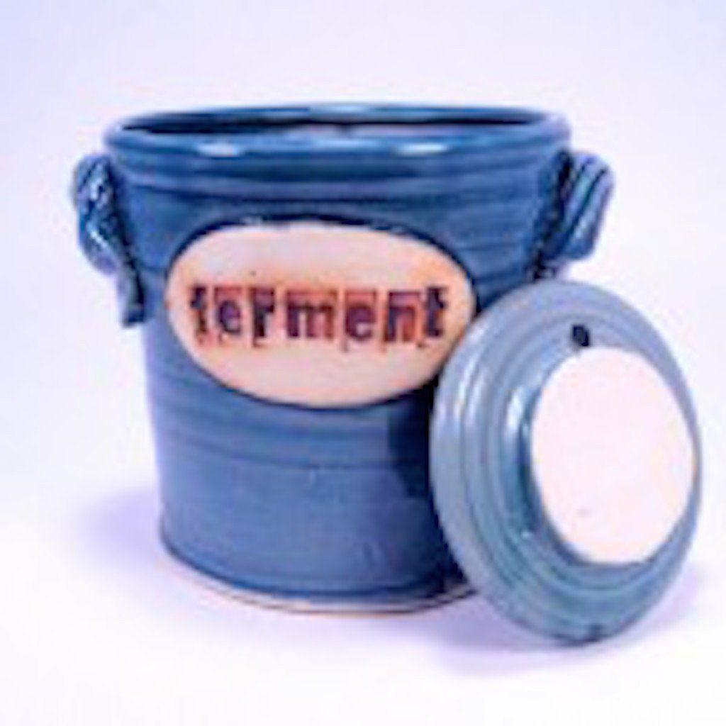 Blue fermenting crock