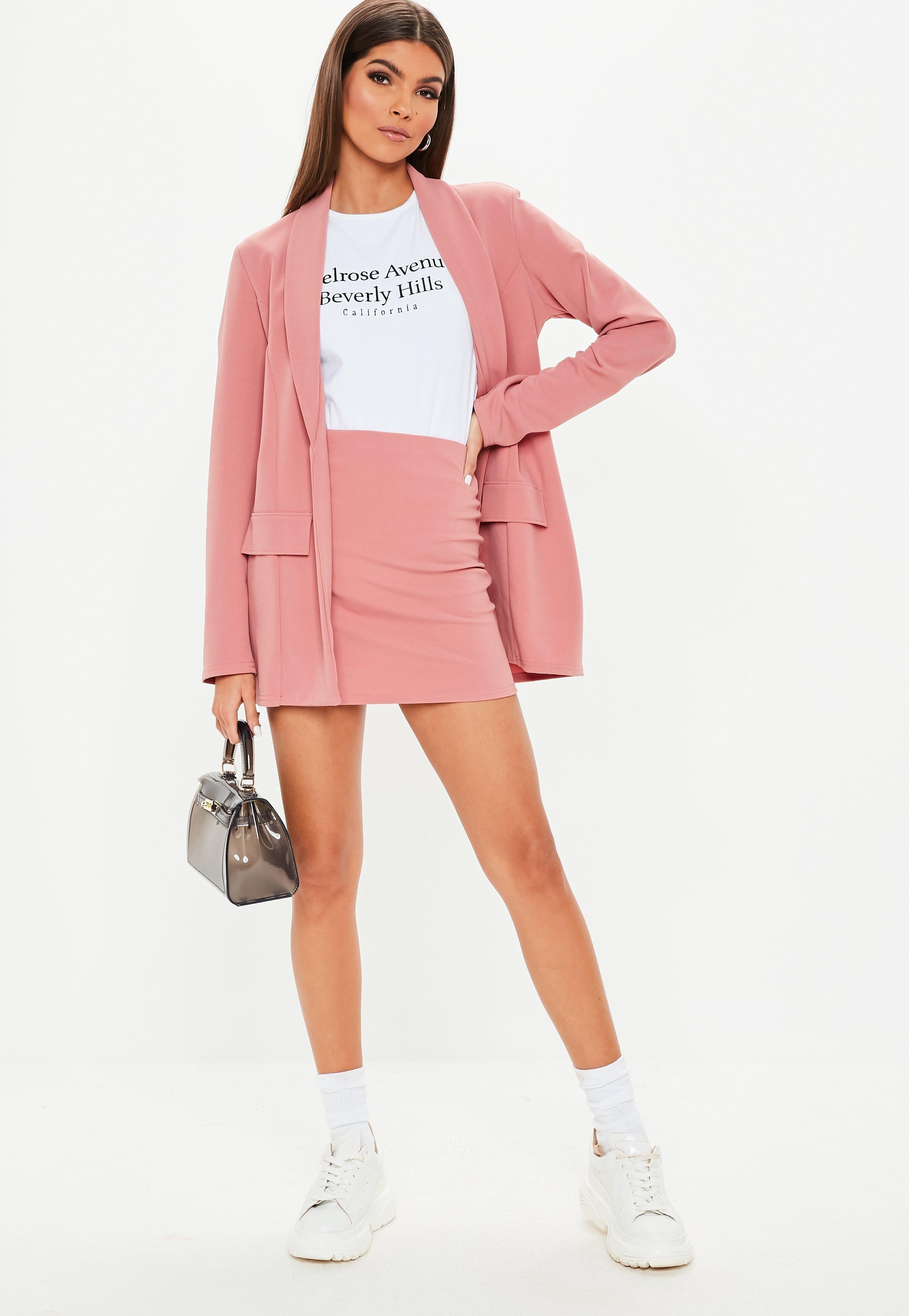 Pink Crepe Oversized Suit Jacket Sponsored Crepe,