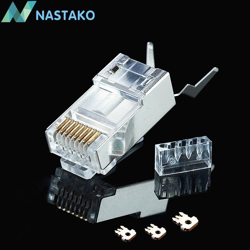 Nastako 50 100pcs Cat6a Cat 7 Crystal Plug Shielded Ftp Rj45 Modular Cat7 Cable Modular Plug Crystal Plugs Rj45