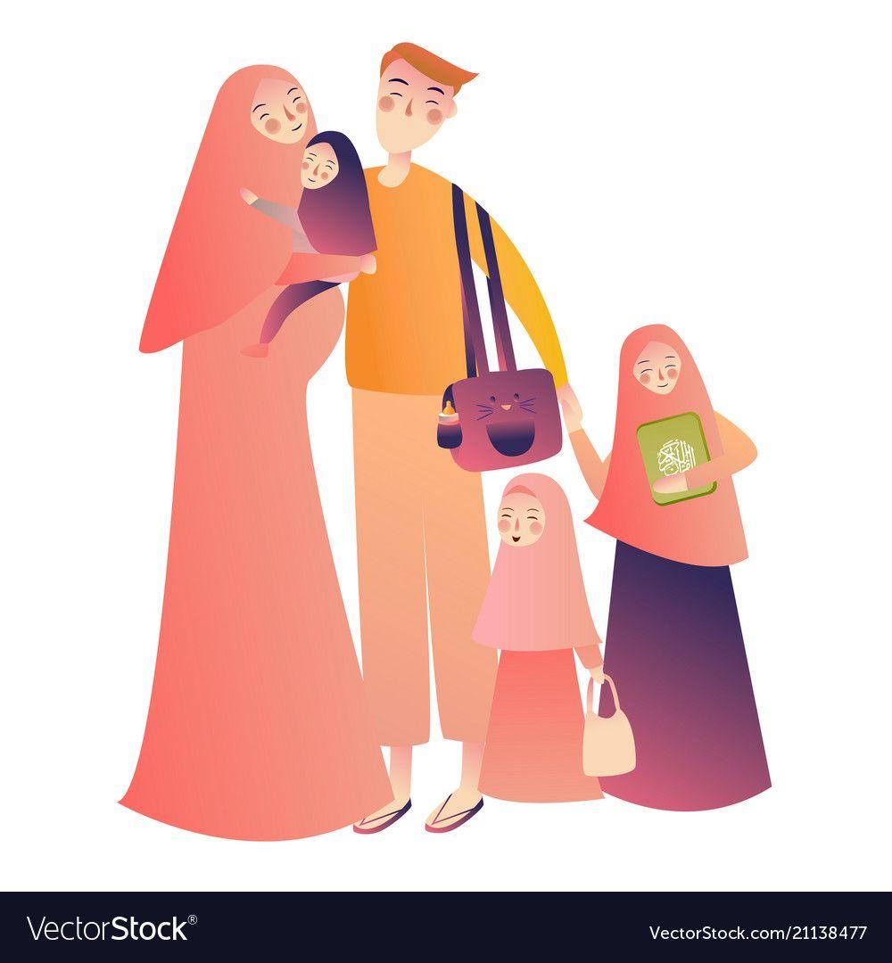 Cartoon arab family characters happy muslim vector image