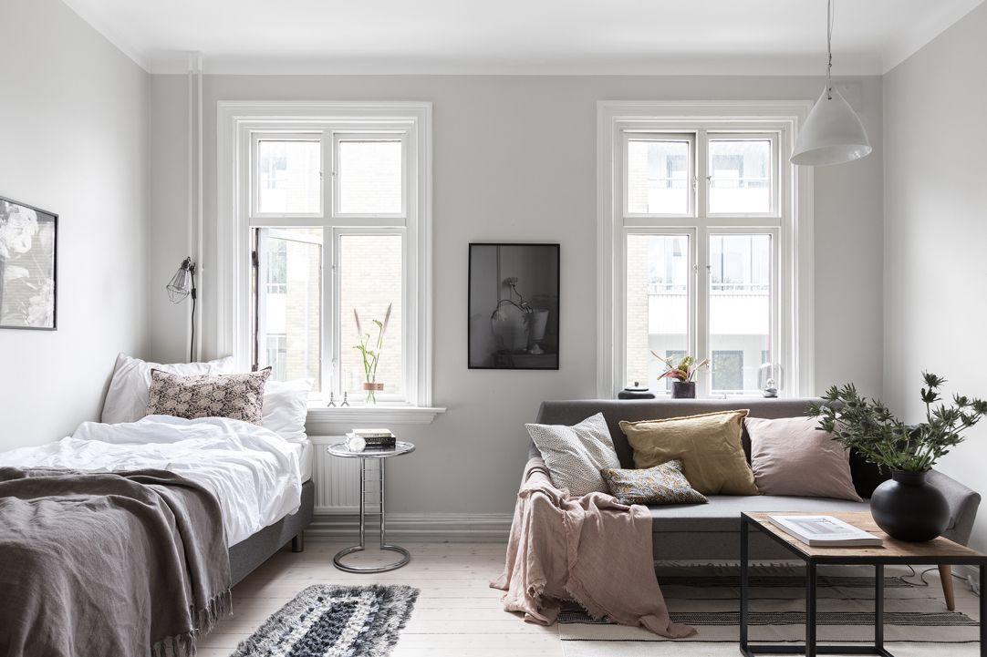 Studio apartment in grey u0026 pastel colours