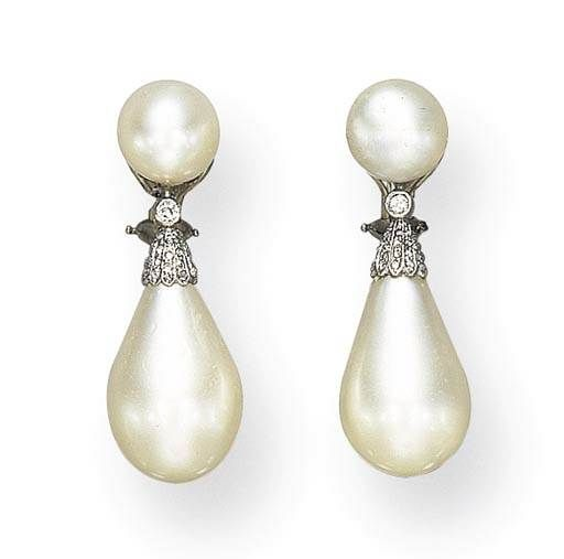 AN IMPORTANT PAIR OF BELLE EPOQUE NATURAL PEARL AND DIAMOND EAR PENDANTS 88dbf19063