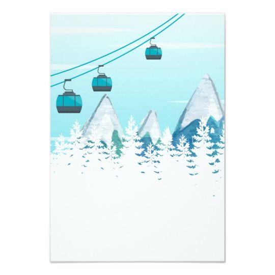 Faire-part de mariage de ski dhiver de montagne | Zazzle.fr