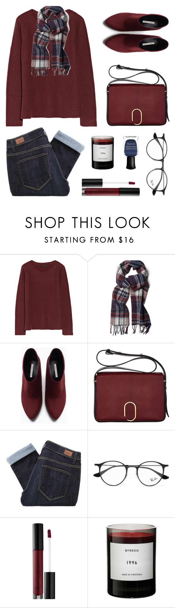 """''Raindrops on roses and whiskers on kittens...''"" by felytery ❤ liked on Polyvore featuring The Row, GANT, Zara, 3.1 Phillip Lim, Paige Denim, Ray-Ban, Anastasia Beverly Hills, Byredo and Deborah Lippmann"