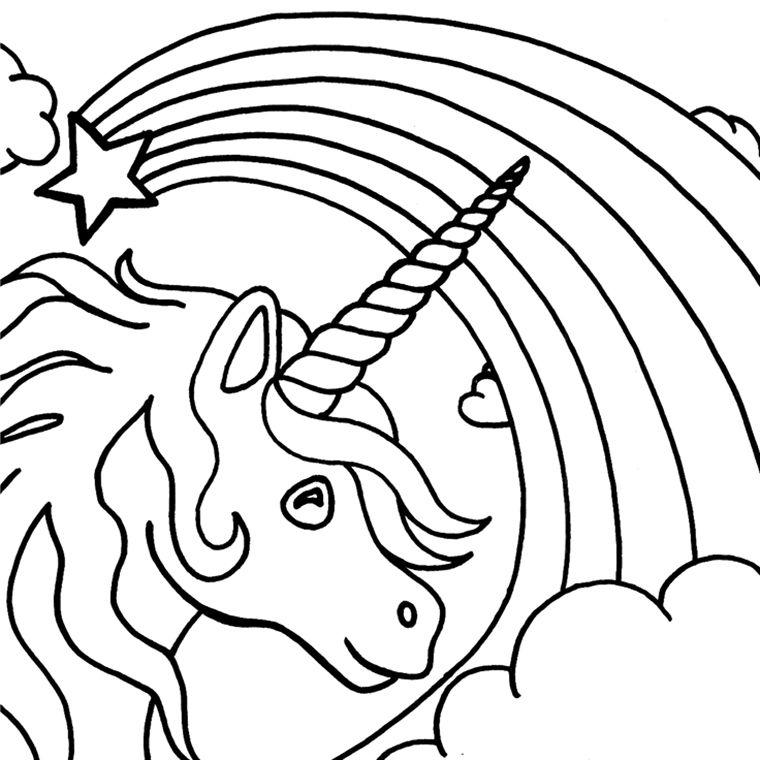 Coloriage Licorne Et Arc En Ciel A Imprimer Gratuit Clip Art 2