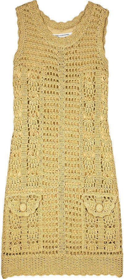 DIANE VON FURSTENBERG DVF Gold Crochet Knitted ZACHARIE Dress S UK ...