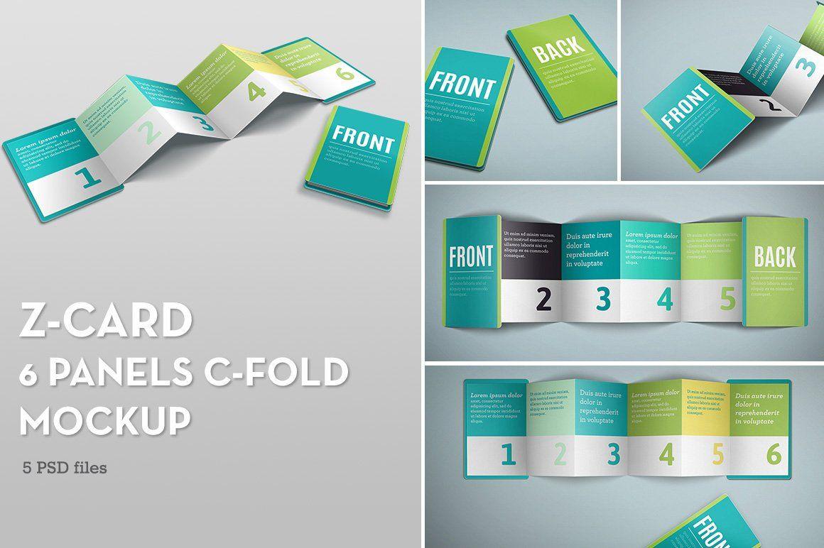 Z Card Mock Up 6 Panels C Fold Business Card Mock Up Mockup Branding Mockups