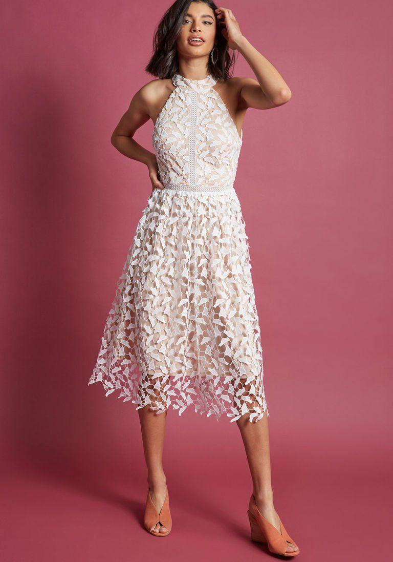 ca5f403b57b9 Cool wedding event dress i.e. bridal shower. Defining Divine Midi Dress in  White