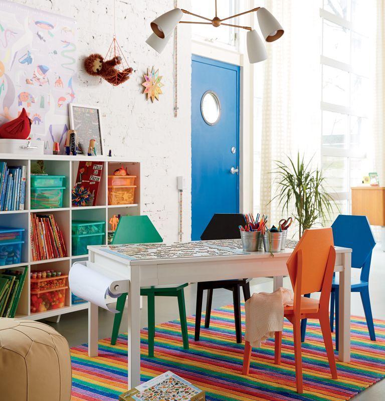 Create a fun gender neutral rainbow playroom with