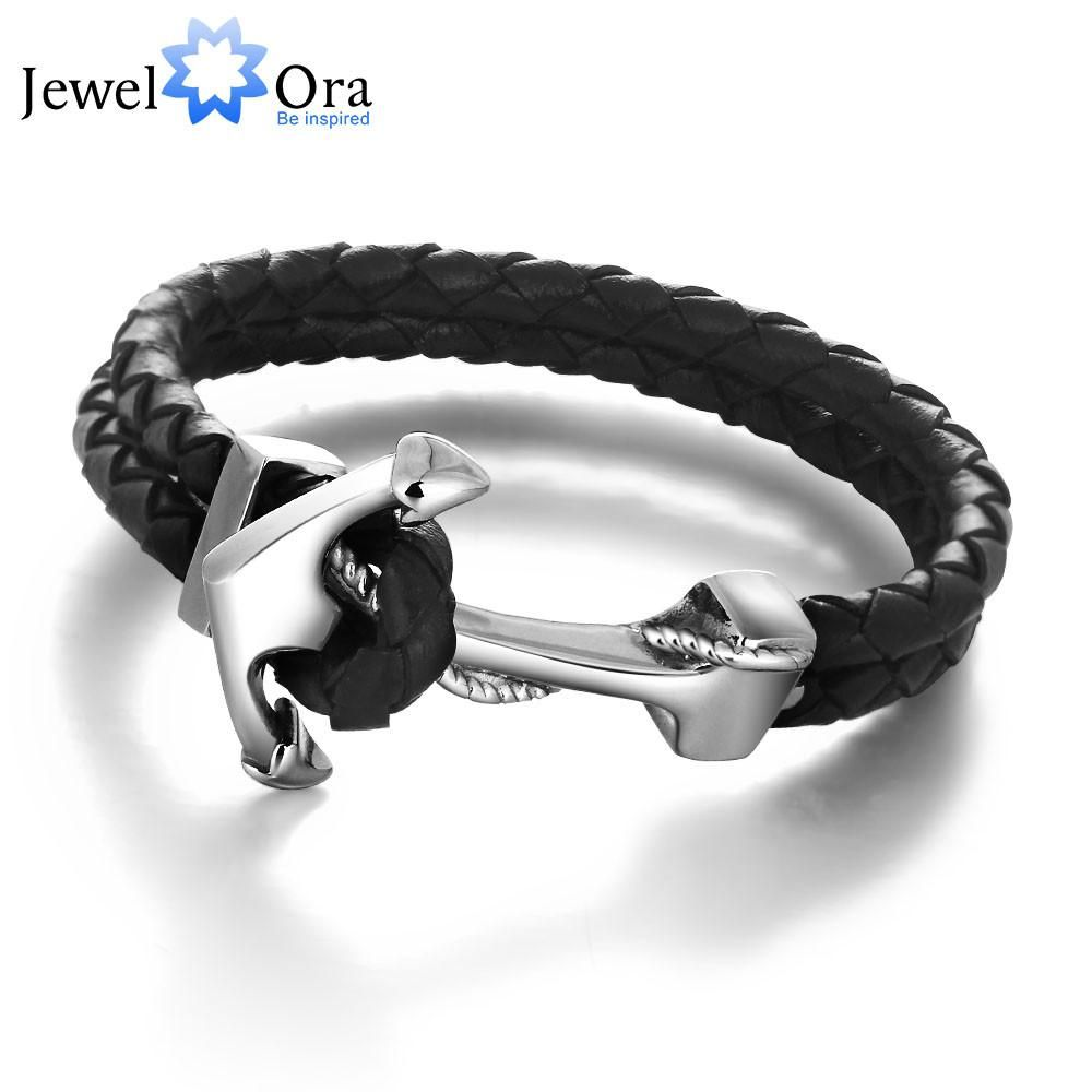 Genuine leather anchor stainless steel bracelets u bangles male punk