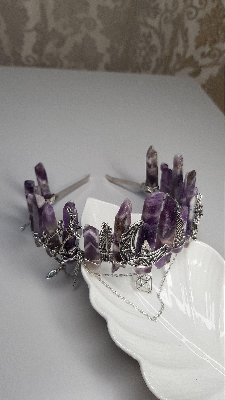 Angel aura quartz crystal crown boho witchy festival gothic wedding quartz crown tiara alternative elven bohemian crown