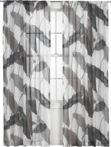 Marimekko Tatar Sheer Curtain Panel Grey White Leaves 50 X 63