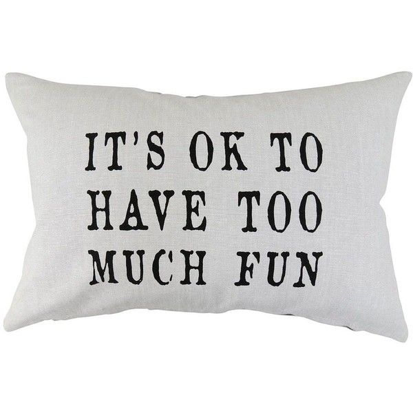 Park B. Smith ''Too Much Fun'' Throw Pillow (Black) ($36) ❤ liked on Polyvore featuring home, home decor, throw pillows, black, graphic throw pillows, whimsical home decor, black throw pillows, black accent pillows and black home decor