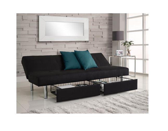 Futon Storage Sofa Sleeper Folding Couch Bed Convertible Dorm College Furniture Contempor Futon Wohnzimmer Schlafsofa Mit Bettkasten Schwarze Wohnzimmermobel