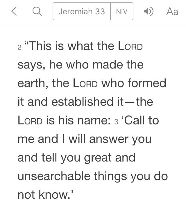 Jeremiah 33:2-3 (NIV)