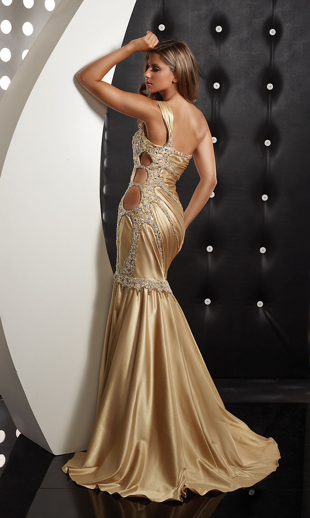 Sexy One Shoulder Gold Mermaid Dress by Jasz 4359 | Sequin Heaven ...