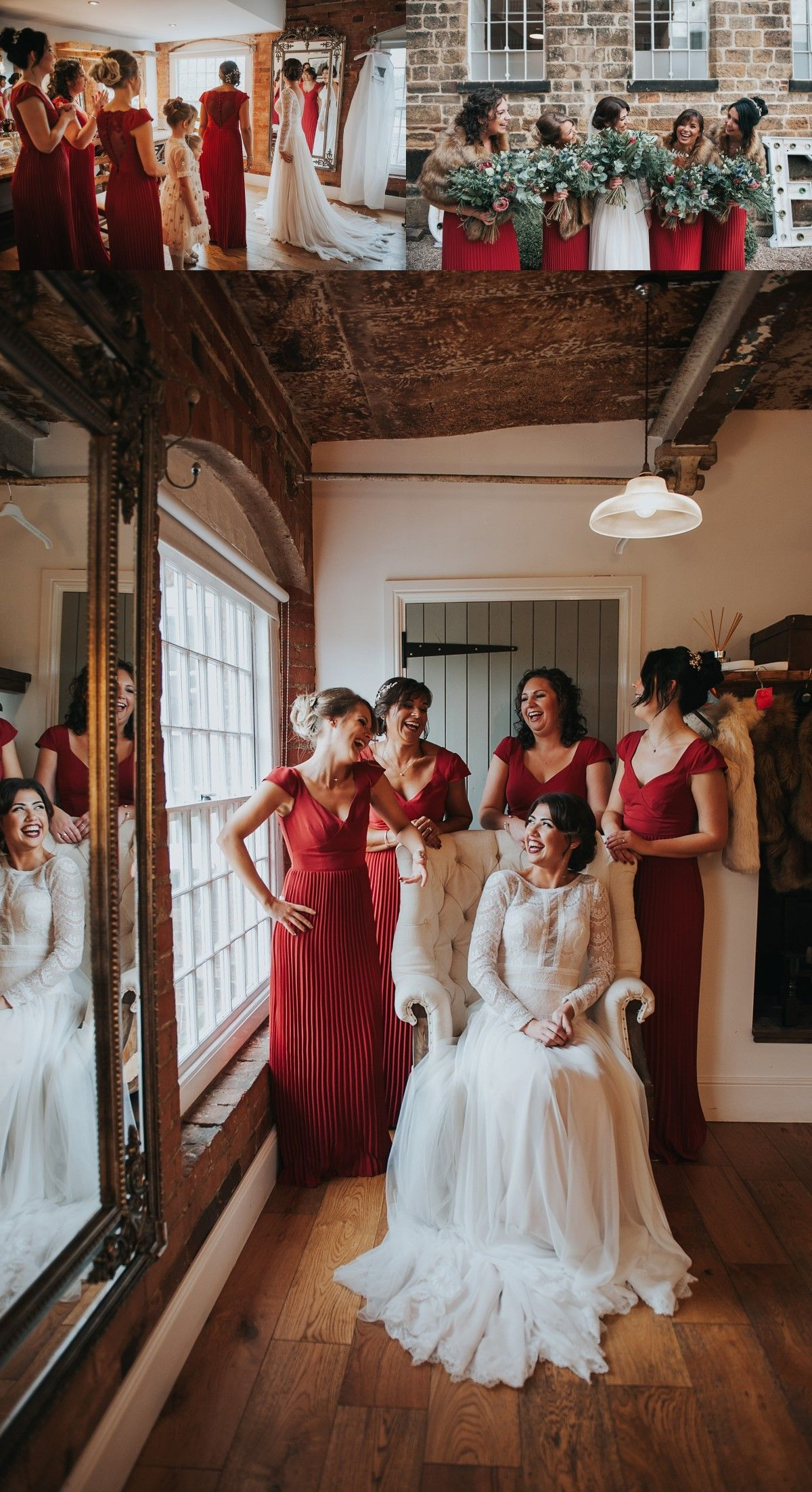 Aline vneck red pleated bridesmaid dress with lace bridesmaid