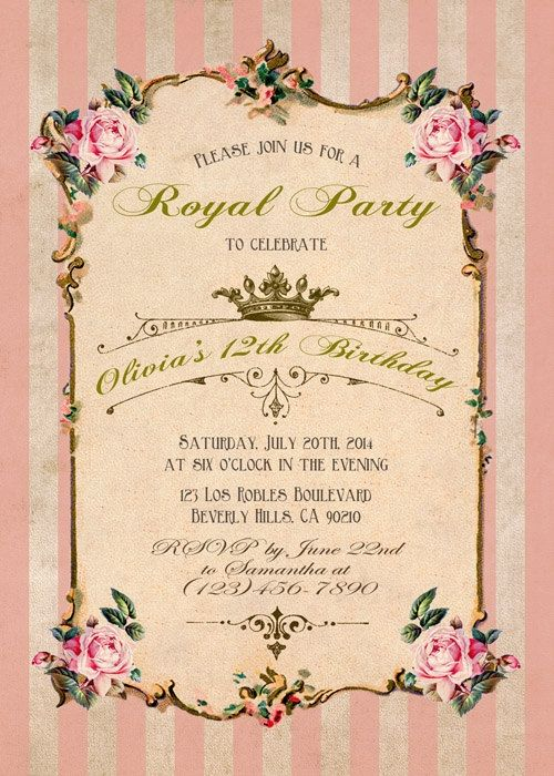 French Birthday invitation Pink invitation Graduation Baby Shower