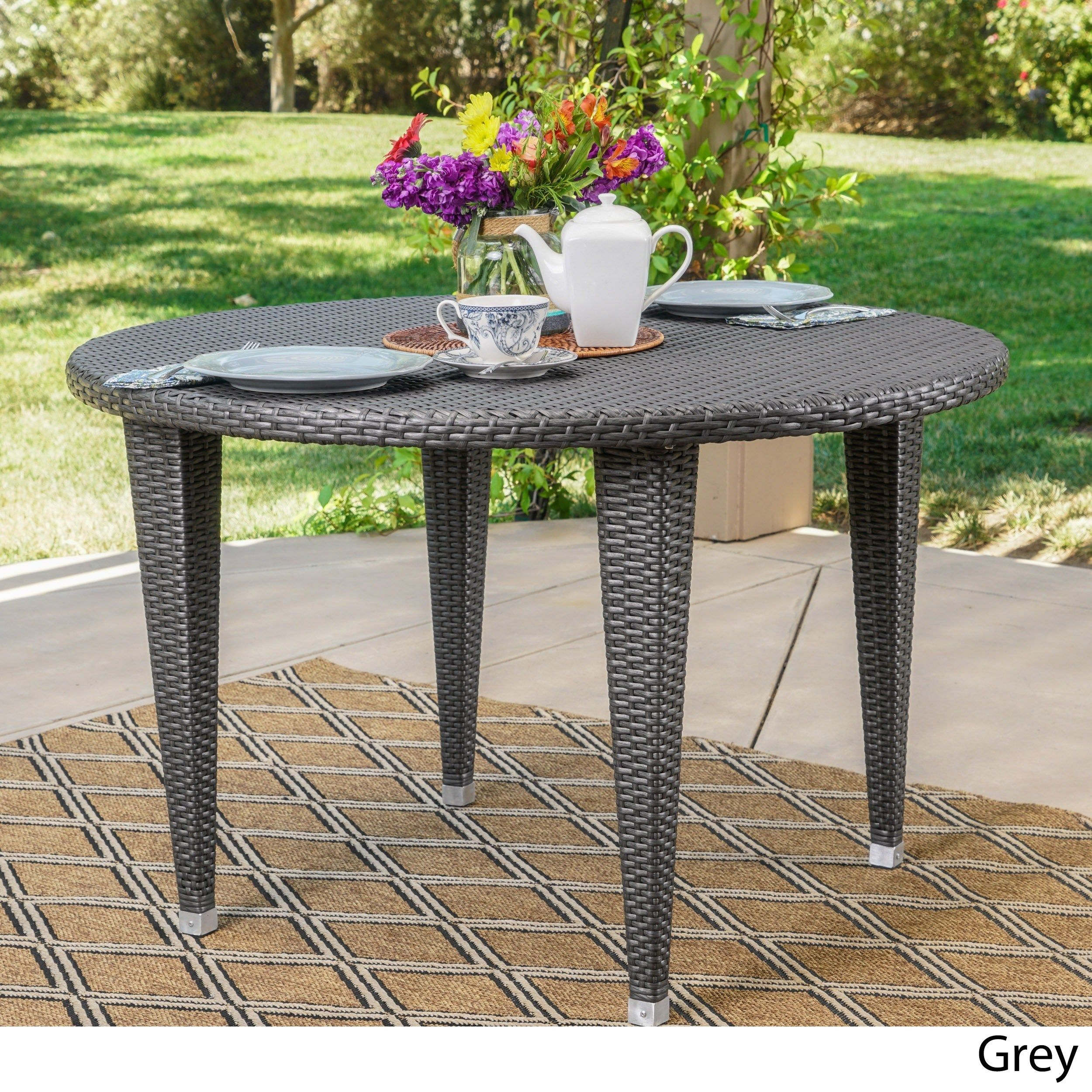 dominica outdoor wicker round dining table by christopher knight rh pinterest com