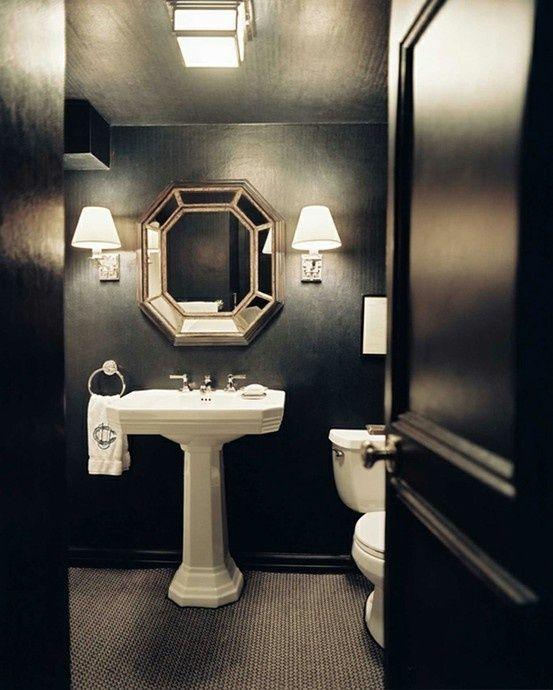 Salle de bain noir et blanc -13 Idées design Powder room, Tiny