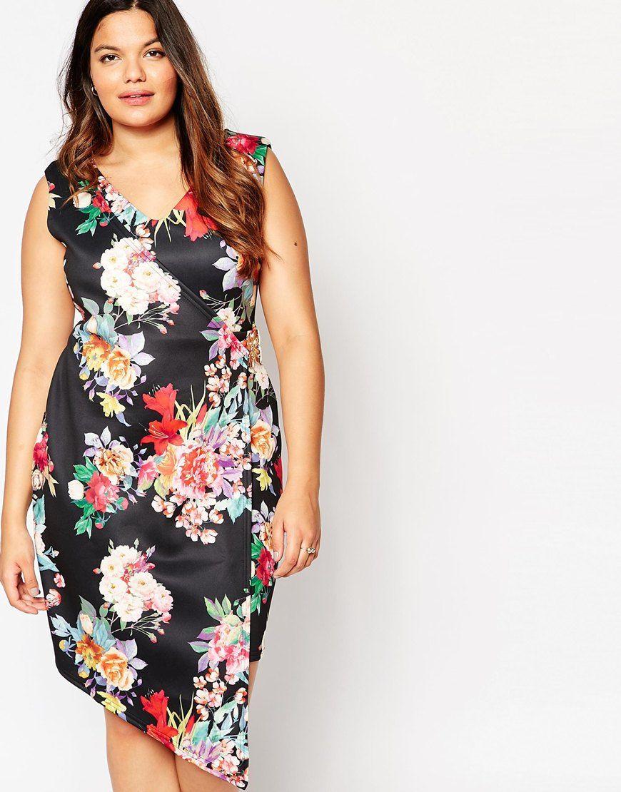 Immagine 1 di Praslin - Vestito taglie comode a portafoglio con stampa a fiori
