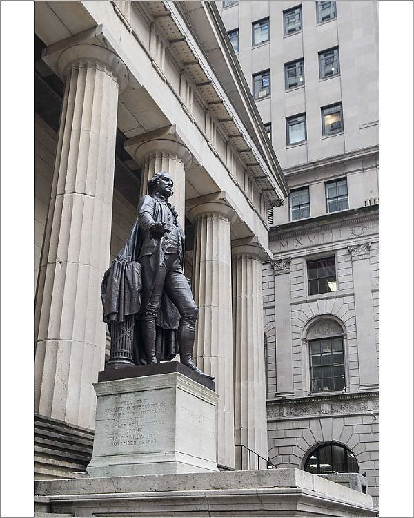 Print Of George Washington Statue Federal Hall Manhattan New York City New York Usa In 2020 George Washington Statue Statue George Washington