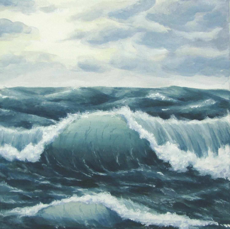 Ocean Art Original Choppy Seas Painting Stormy Ocean Painting