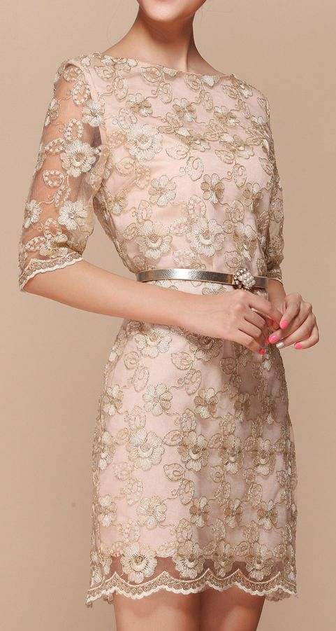 Blush floral embroidered dress