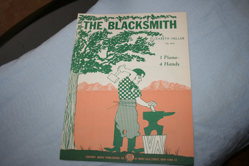 The Blacksmith, Sheet Music for Piano, Elizabeth Heller, 1954, One Piano, Four Hands Sheet Music #vintagesheetmusic