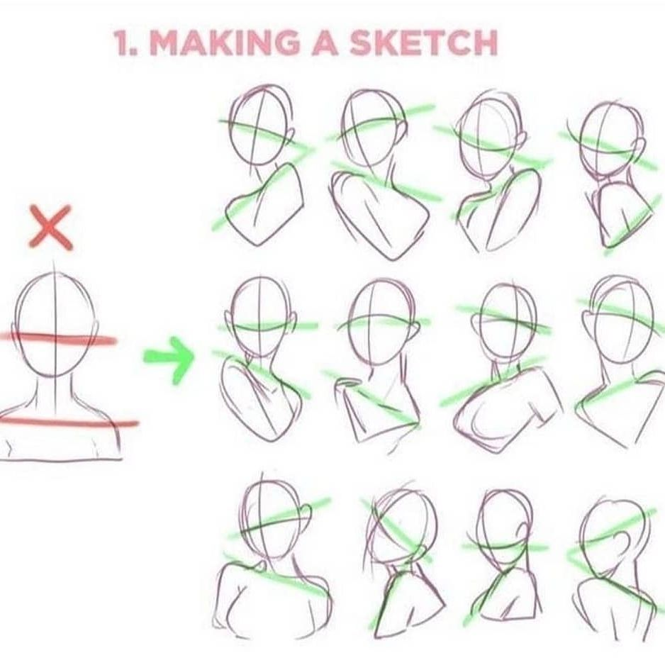 """Photo of Learn to create nr1 Art! on Instagram: """"Follow @animearto for the best anime art! Tips for making a sketch! Save this for future reference! . Source/Credits: @ladowska . . Dm for…"""""""