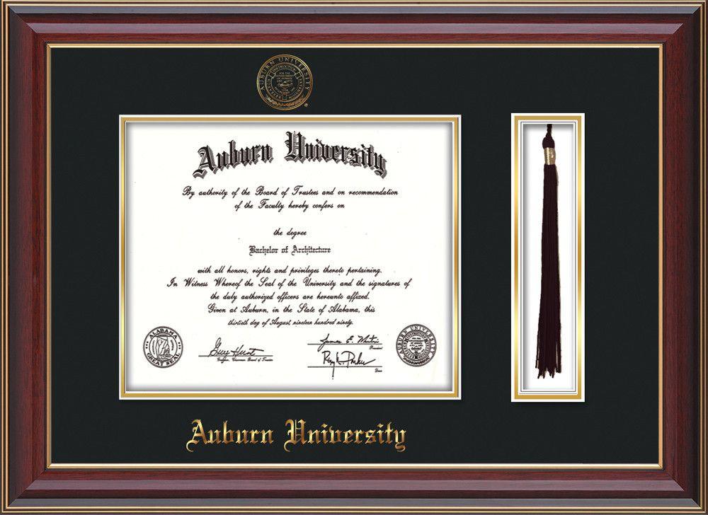 Auburn University Diploma Frame - Cherry Lacquer - w/Embossed Seal ...