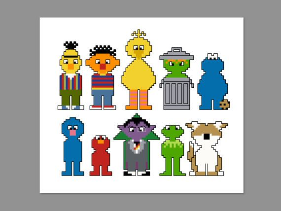 Sesame Street Pixel People Character Cross Stitch PDF PATTERN ONLY
