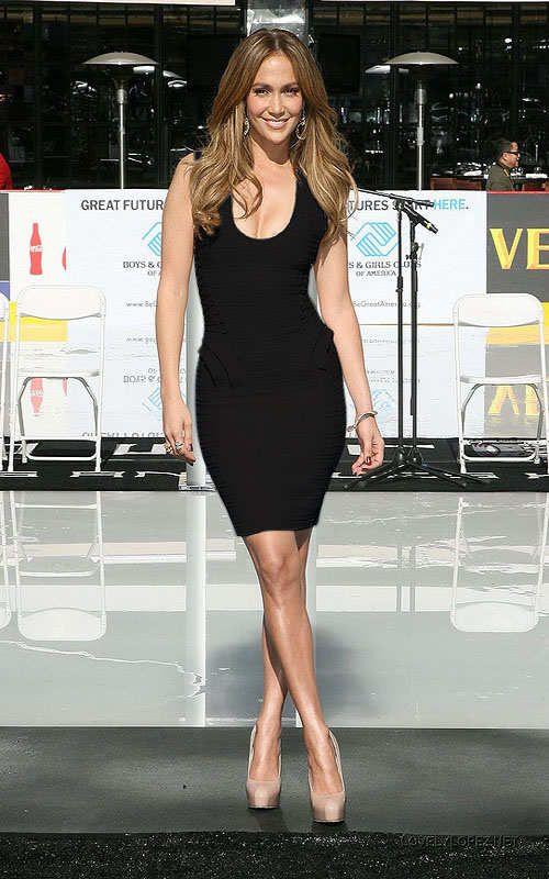 U Neck Black Herve Leger Bandage Dress Jennifer Lopez [Jennifer ...
