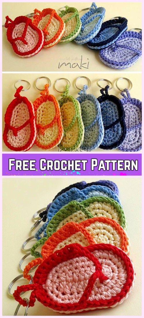 Crochet Flip Flop Keychain Free Patterns | Llaveros, Tejido y Ganchillo