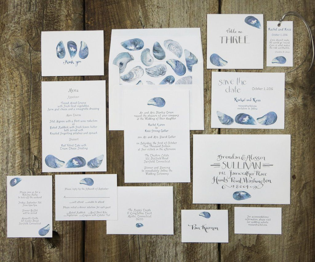 Mussel Shells Wedding Invitation Suite Mussel Shells