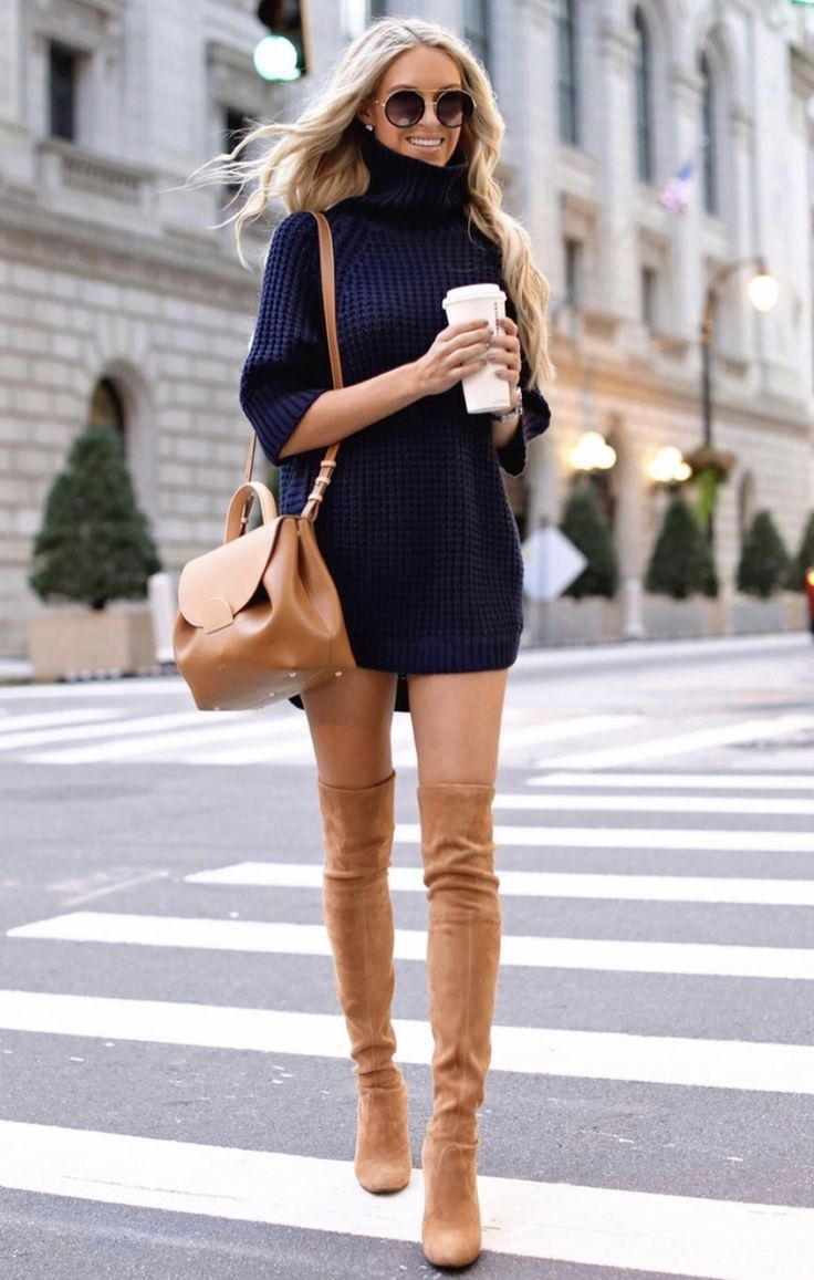 21+ Winter Outfits To Copy ASAP: Navy sweater dress with tan over the knee boots…