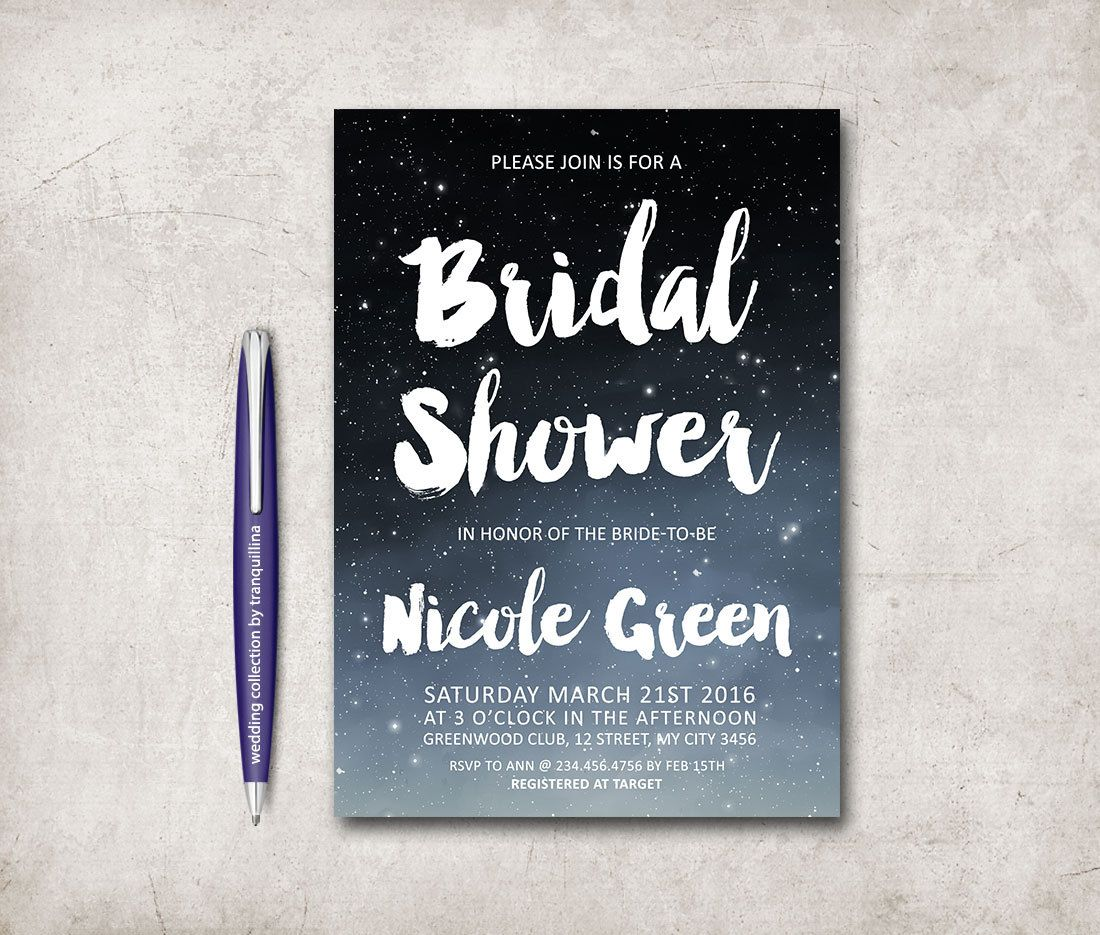 bridal shower invitation pictures%0A Bridal Shower Invitation Printable  Modern Bridal shower  Digital File   Under the stars Bridal