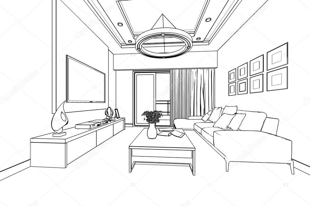 Outline Sketch Of A Interior Stock Photo Affiliate Sketch