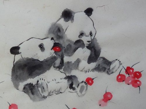 Aquarelle Pandas Chine Xieyi Abby Animaux Aquarelle Chinoise Art