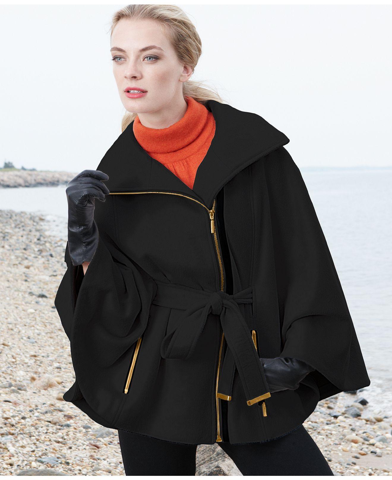 calvin klein plus size coat, faux-leather-trim cape - plus size