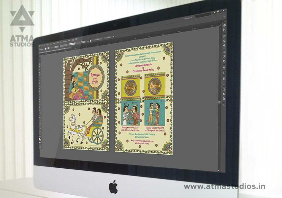 wedding invitation for friends india%0A Illustrated Indian Wedding Invitation  Madhubani Inspired  The Contemporary  Wedding Illustrations of Atma Studios are